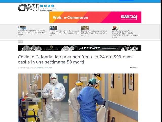 Covid in Calabria, la curva non frena. In 24 ore 593 nuovi casi e in una settimana 59 morti