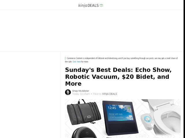 Sunday's Best Deals: Echo Show, Robotic Vacuum, $20 Bidet, and More