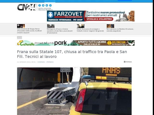 Frana sulla Statale 107, chiusa al traffico tra Paola e San Fili. Tecnici al lavoro