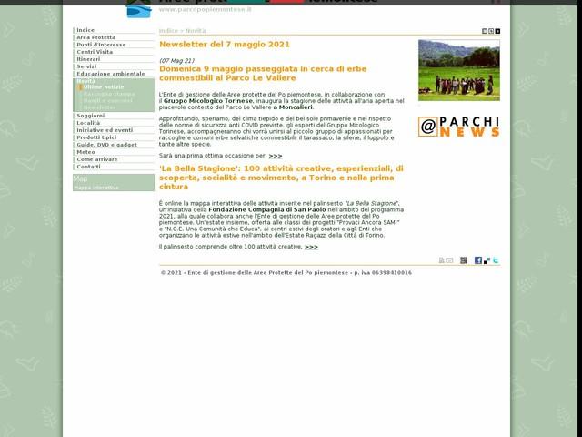 Aree Protette Po piemontese - Newsletter del 7 maggio 2021
