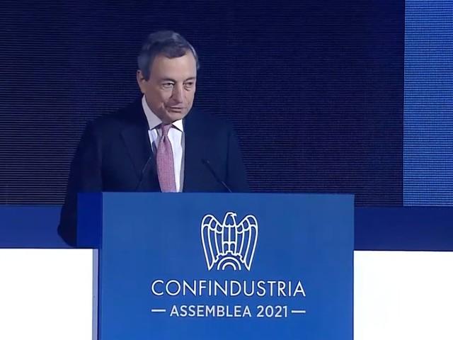 """Draghi: """"Forte ripresa, le previsioni stimano una crescita al 6% per quest'anno"""""""