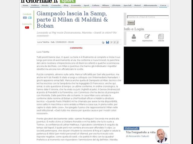 Giampaolo lascia la Samp, parte il Milan di Maldini & Boban