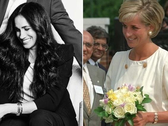 Meghan Markle con l'orologio di Lady Diana nel primo scatto ufficiale dopo l'addio alla Royal Family