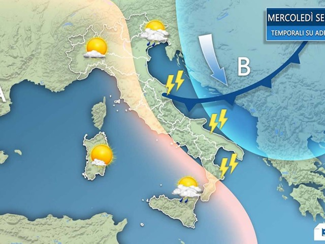 Meteo Italia - VELOCI TEMPORALI in arrivo su adriatiche e Sud, sole e caldo altrove