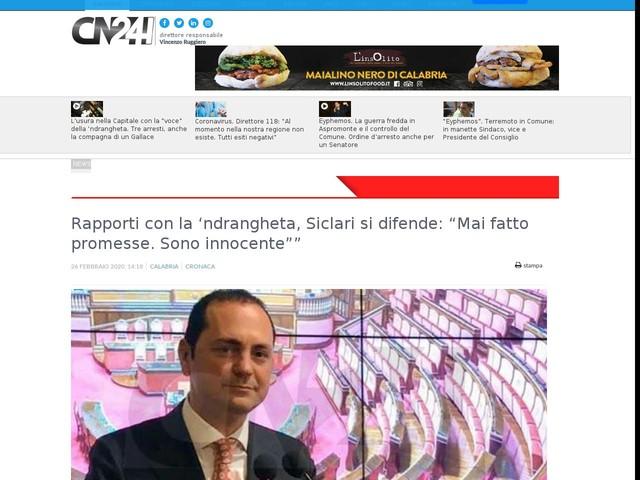 """Rapporti con la 'ndrangheta, Siclari si difende: """"Mai fatto promesse. Sono innocente"""""""""""