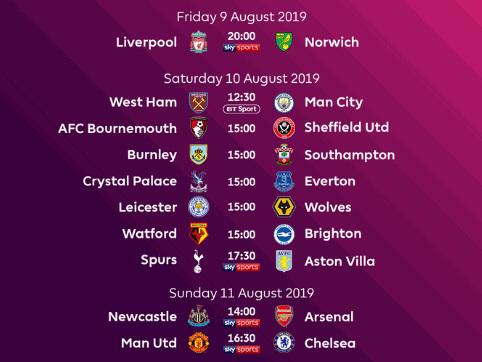 Premier League, si parte con United-Chelsea alla prima giornata