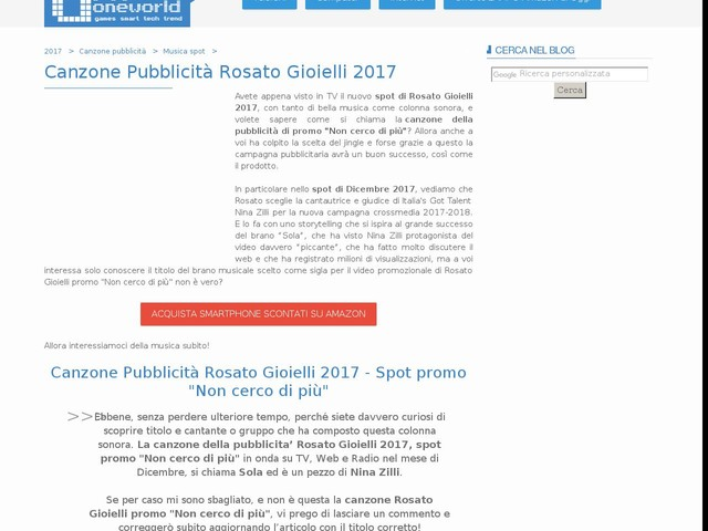 Canzone Pubblicità Rosato Gioielli 2017