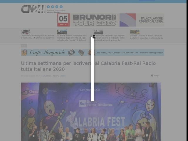 Ultima settimana per iscriversi al Calabria Fest-Rai Radio tutta italiana 2020