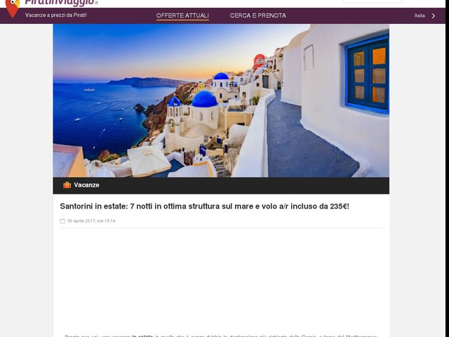 Santorini in estate: 7 notti in ottima struttura sul mare e volo a/r incluso da 235€!