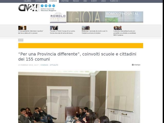 """""""Per una Provincia differente"""", coinvolti scuole e cittadini dei 155 comuni"""