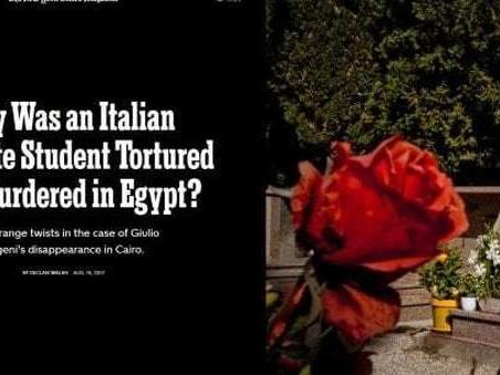 Regeni, il New York Times: ?Ricercatore ucciso dai servizi egiziani, Palazzo Chigi avvisato dagli Usa?