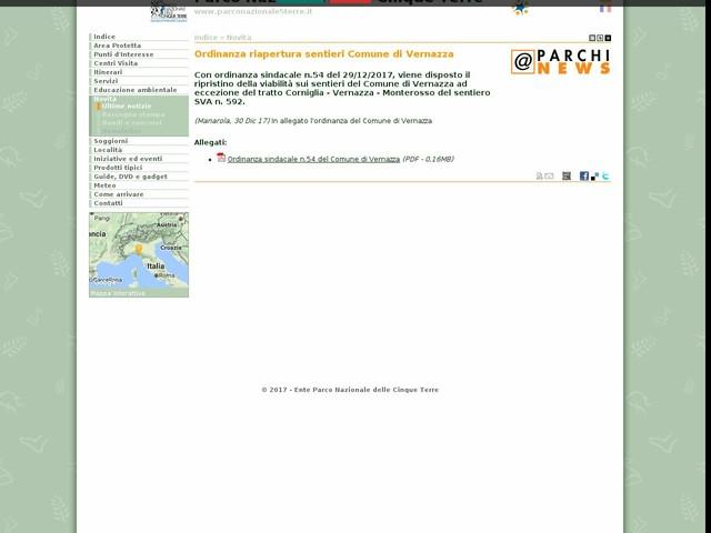 PN Cinque Terre - Ordinanza riapertura sentieri Comune di Vernazza