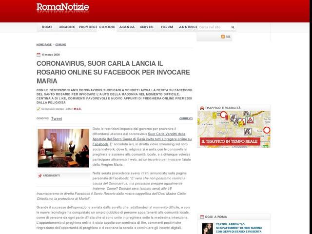 Coronavirus, Suor Carla lancia il rosario online su Facebook per invocare Maria