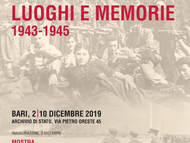 """Bari: """"Luoghi e memorie 1943-1945"""", oggi inaugurazione Mostra-convegno negli spazi dell'Archivio di Stato"""