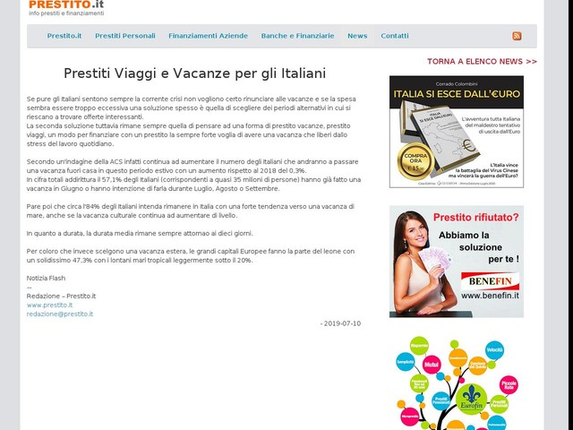 2019-07-10: Prestiti Viaggi e Vacanze per gli Italiani