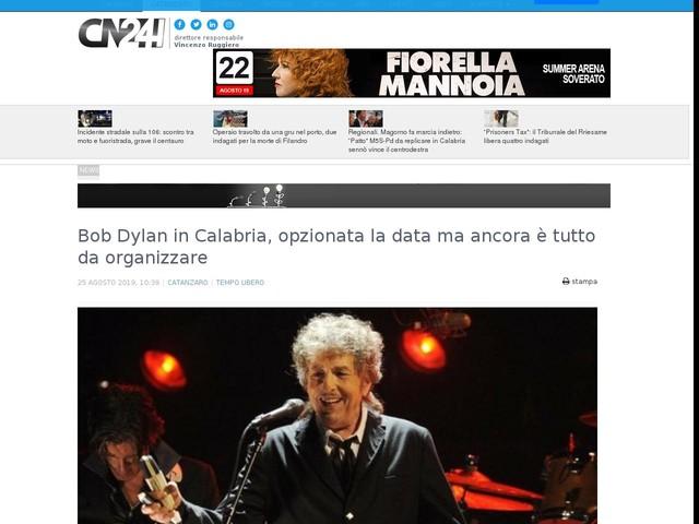 Bob Dylan in Calabria, opzionata la data ma ancora è tutto da organizzare