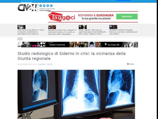Studio radiologico di Siderno in crisi: la vicinanza della Giunta regionale