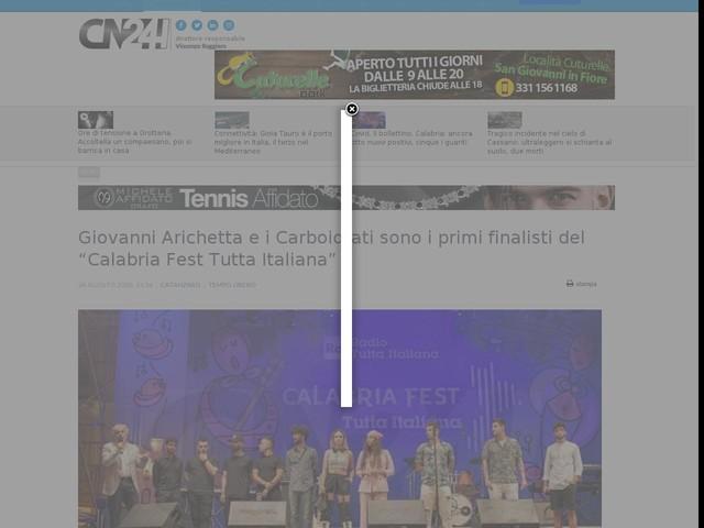 """Giovanni Arichetta e i Carboidrati sono i primi finalisti del """"Calabria Fest Tutta Italiana"""""""