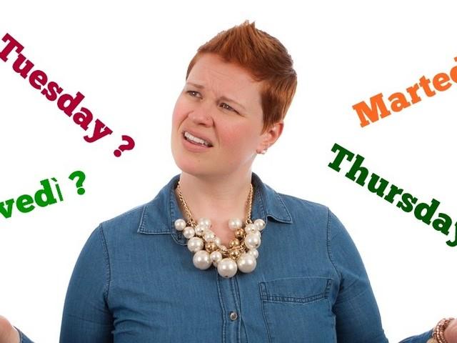 Come si traducono martedì e giovedi in inglese: vi confondete anche voi?