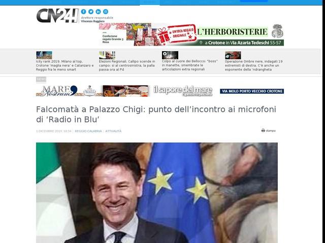 Falcomatà a Palazzo Chigi: punto dell'incontro ai microfoni di 'Radio in Blu'