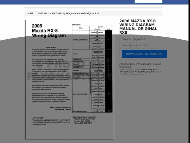 Mazda Rx 8 Wiring Diagram Manual Original Rx8