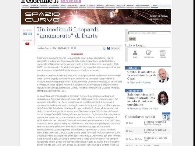 """Un inedito di Leopardi """"innamorato"""" di Dante"""