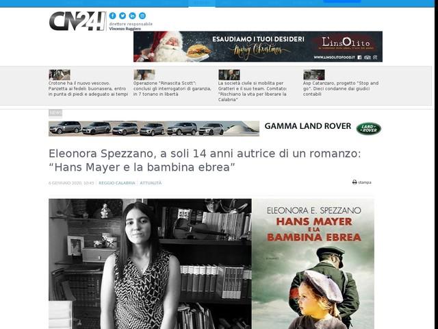 """Eleonora Spezzano, a soli 14 anni autrice di un romanzo: """"Hans Mayer e la bambina ebrea"""""""