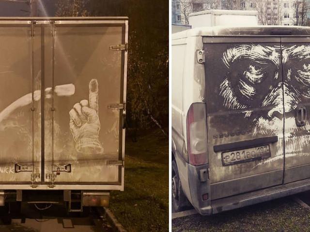 21 Foto dell'artista che crea opere d'arte con lo sporco dei veicoli