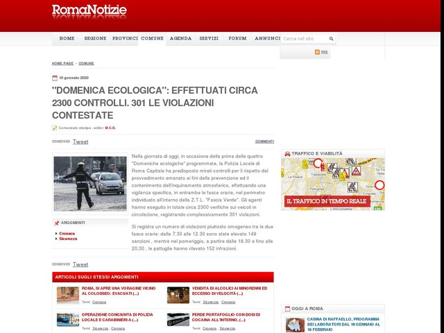 """""""Domenica ecologica"""": effettuati circa 2300 controlli. 301 le violazioni contestate"""