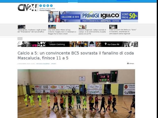 Calcio a 5: un convincente BC5 sovrasta il fanalino di coda Mascalucia, finisce 11 a 5