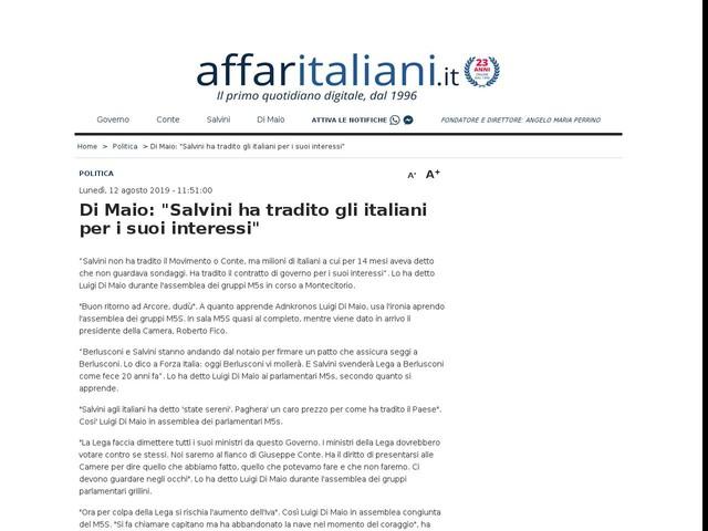 """Di Maio: """"Salvini ha tradito gli italiani per i suoi interessi"""""""
