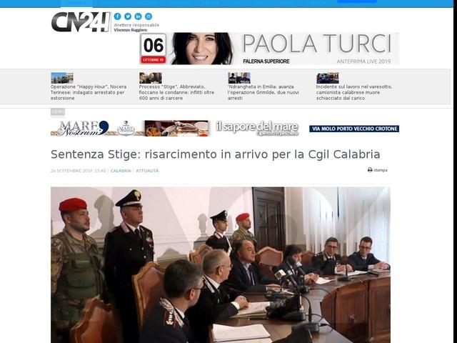 Sentenza Stige: risarcimento in arrivo per la Cgil Calabria