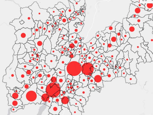 Virus, la mappa dei contagi aggiornata per comune