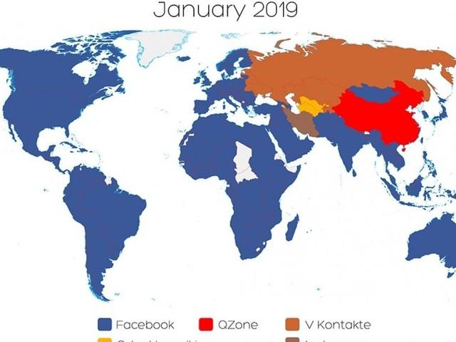 Aggiornata la mappa mondiale social: Facebook guadagna utenti nei paesi dell'ex Urss