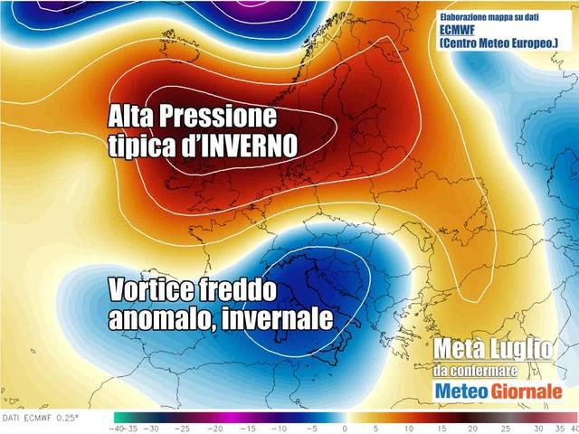 Vero STOP Meteo Estate irromperà Goccia d'Aria Fredda dalla Rotta Italia. Rischio Temporali di forte intensità
