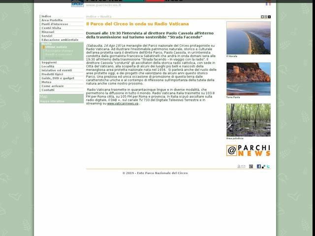 PN Circeo - Il Parco del Circeo in onda su Radio Vaticana