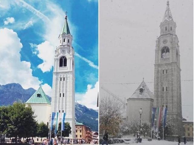 Cortina d'Ampezzo, in poche ore dal caldo alla neve. E ora riaprono le piste