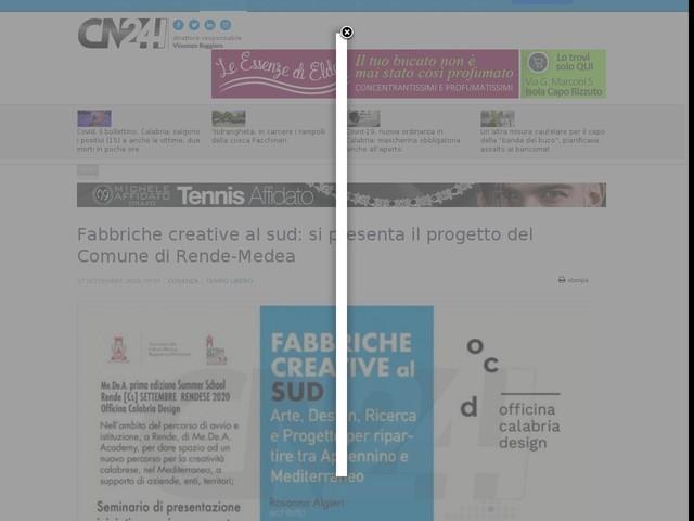Fabbriche creative al sud: si presenta il progetto del Comune di Rende-Medea