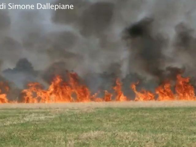 Ferrara capitale del caldo, città più rovente d'Italia. Incendio alle porte della città – VIDEO