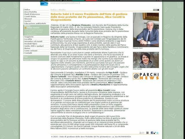 Aree Protette Po piemontese - Roberto Saini è il nuovo Presidente dell'Ente di gestione delle Aree protette del Po piemontese, Alice Cerutti la Vicepresidente