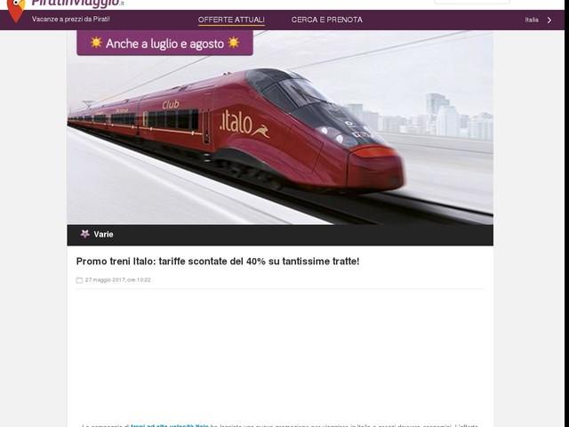 Promo treni Italo: tariffe scontate del 40% su tantissime tratte!