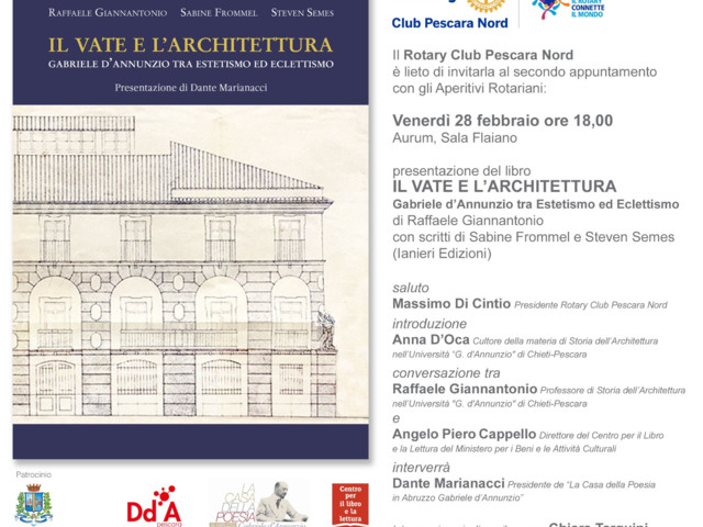 """Pescara – Presentazione in anteprima del libro """"Il Vate e l'Architettura. Gabriele d'Annunzio tra Estetismo ed Eclettismo"""""""