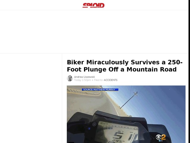 Biker Miraculously Survives a 250-Foot Plunge Off a Mountain Road