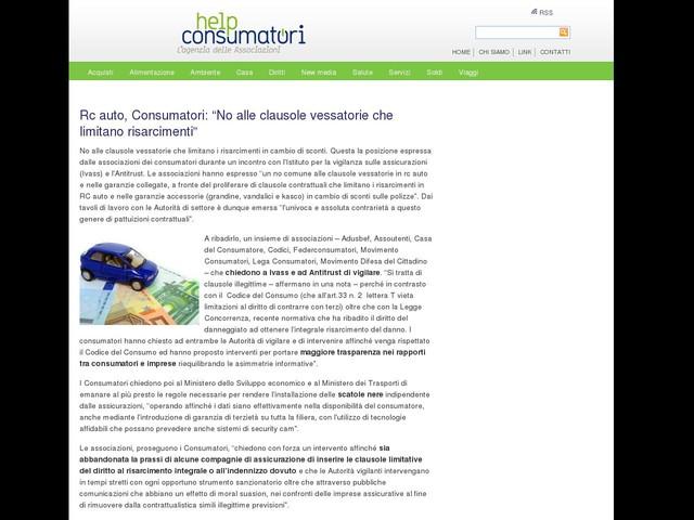 """Rc auto, Consumatori: """"No alle clausole vessatorie che limitano risarcimenti"""""""