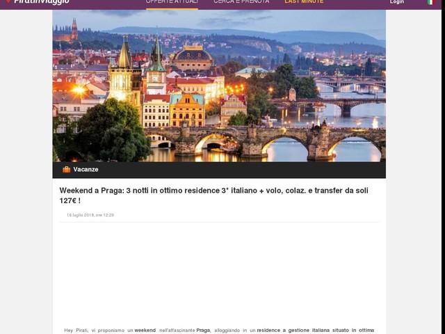 Weekend a Praga: 3 notti in ottimo residence 3* italiano + volo, colaz. e transfer da soli 127€ !