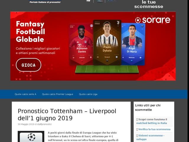 Pronostico Tottenham – Liverpool dell'1 giugno 2019