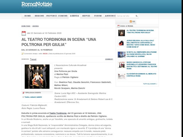 """Al Teatro Tordinona in scena """"Una Poltrona per Giulia"""""""