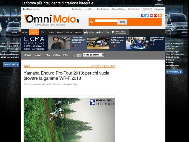 Yamaha Enduro Pro-Tour 2018: per chi vuole provare la gamma WR-F 2018