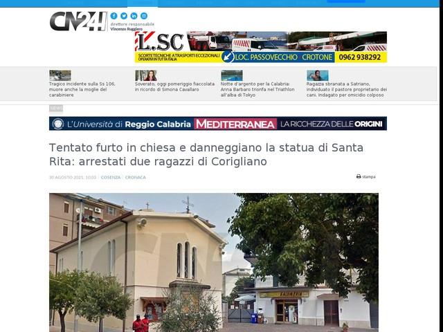 Tentato furto in chiesa e danneggiano la statua di Santa Rita: arrestati due ragazzi di Corigliano