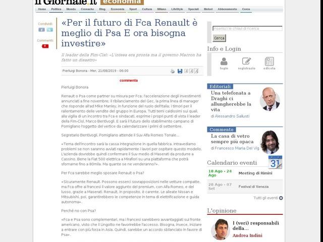 «Per il futuro di Fca Renault è meglio di Psa E ora bisogna investire»